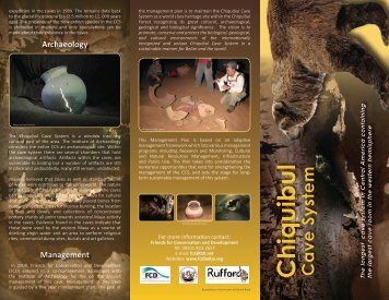 Chiquibul Cave System - The Rufford Small Grants Foundation