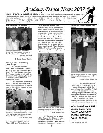 ACADEMY DANCE NEWS - Latin and Ballroom Dancing on Maui