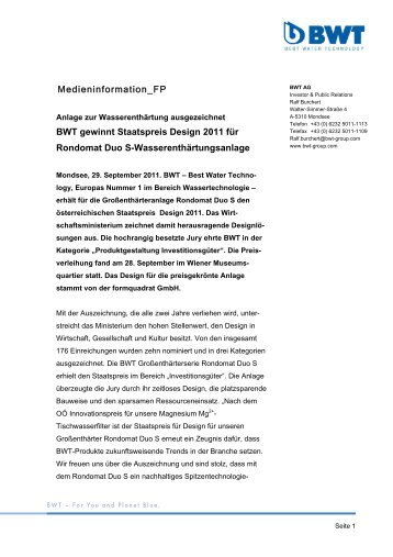 Medieninformation_FP BWT gewinnt Staatspreis ... - BWT Group