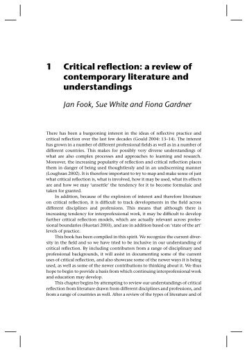 1 Critical reflection: a review of contemporary literature - McGraw-Hill