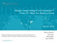 Morgan Lewis Hedge Fund University™ Form PF: What You Need to ...