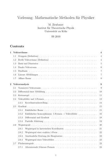 Vorlesung: Mathematische Methoden für Physiker - Universität zu Köln
