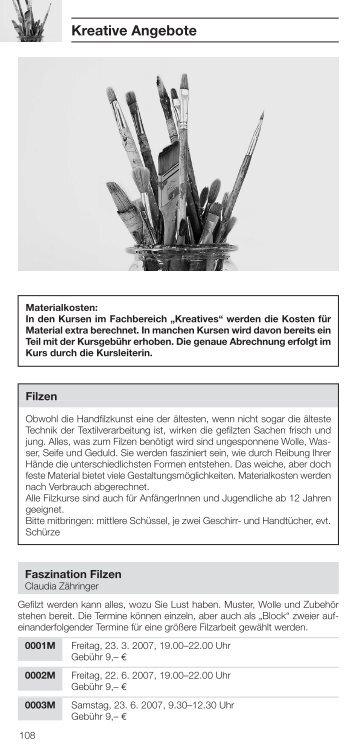Kreative Angebote - Haus der Familie Nürtingen eV