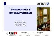 Sonnenschutz & Benutzerverhalten Rony Müller Adiutec AG - GNI