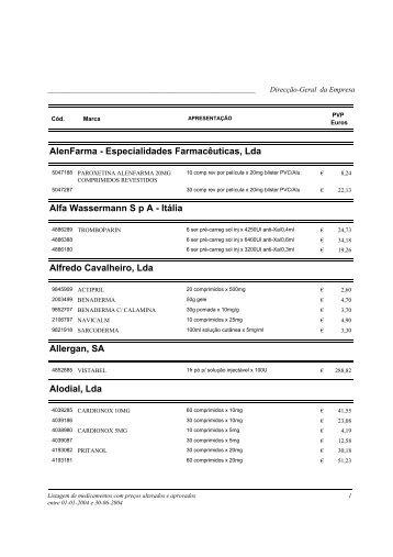 AlenFarma - Especialidades Farmacêuticas, Lda Alfa Wassermann ...