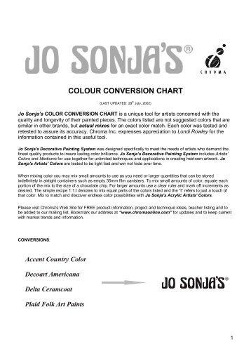 Americana To Ceramcoat Conversion Chart Delta Creative