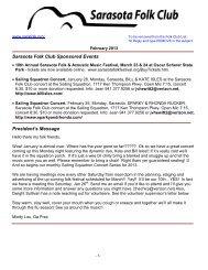 Sarasota Folk Club Sponsored Events President's Message