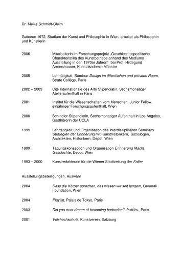 Biografie Meike Schmidt-Gleim - Hildegund Amanshauser