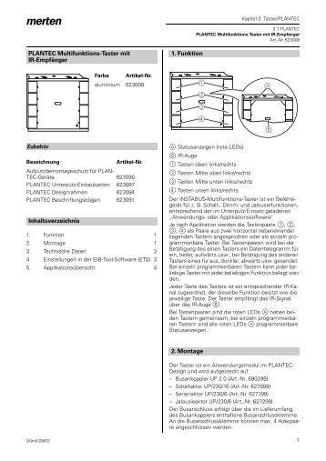 623008 PLANTEC Multifunktionstaster mit IR-Empfänger