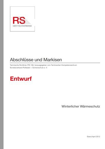 TR 108 Abschlüsse und Markisen - Bundesverband Rollladen + ...