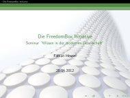 Die FreedomBox Initiative - Seminar ``Wissen in der modernen ...