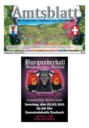 Amtsblatt der Gemeinde Durbach mit Ebersweier
