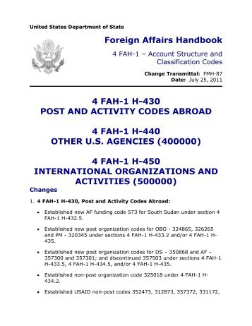 4 FAH-1 Transmittal Letter FMH-87 - US Department of State