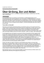 Über Qi-Gong, Zen und Aktien - Lassalle-Institut