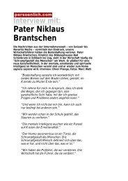 Interview mit: Pater Niklaus Brantschen - Persoenlich