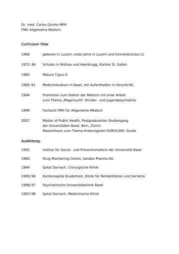 Dr. med. Carlos Quinto MPH FMH Allgemeine Medizin Curriculum ...