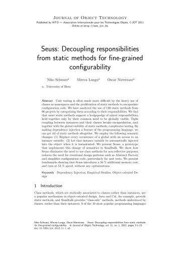Seuss - The Journal of Object Technology