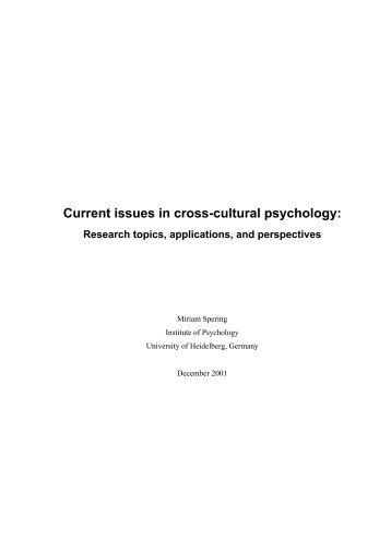 cross cultural psychological research paper