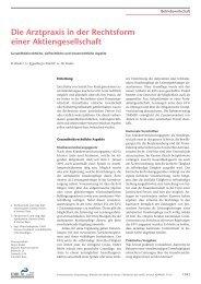 Die Arztpraxis in der Form einer Aktiengesellschaft / Auszug