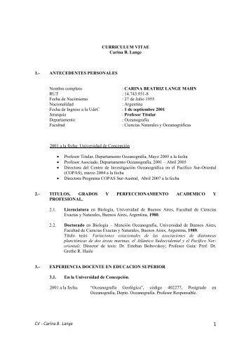 Download CV Carina Lange (pdf) - Departamento de Oceanografía ...