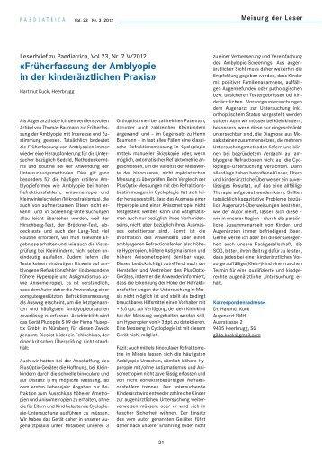 «Früherfassung der Amblyopie in der kinderärztlichen Praxis»