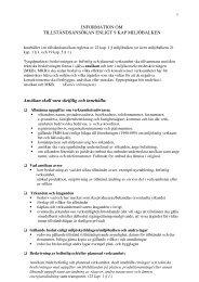 Information om tillståndsansökan enligt 9 kap ... - Länsstyrelserna
