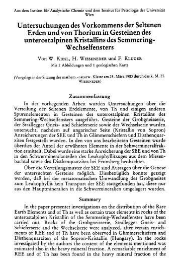Untersuchungen des Vorkommens der Seltenen Erden und von ...