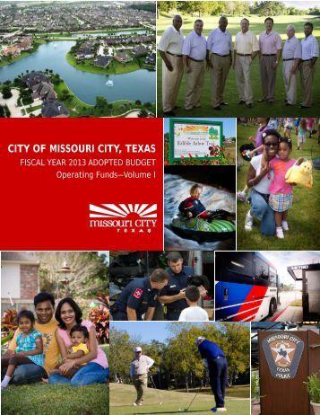 FY 2013 Operating Budget.pdf - Missouri City, TX - Official Website