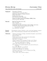Florian Herzig Curriculum Vitae - Department of Mathematics ...