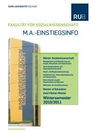 M.A.-EINSTIEGSINFO - Fakultät für Sozialwissenschaft der Ruhr ...