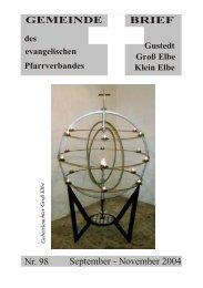 Gemeindebrief 98 PDF - Evangelische Kirchengemeinden in Elbe