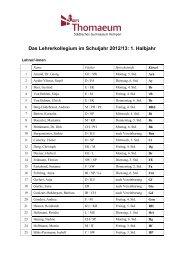 Das Lehrerkollegium im Schuljahr 2012/13: 1. Halbjahr
