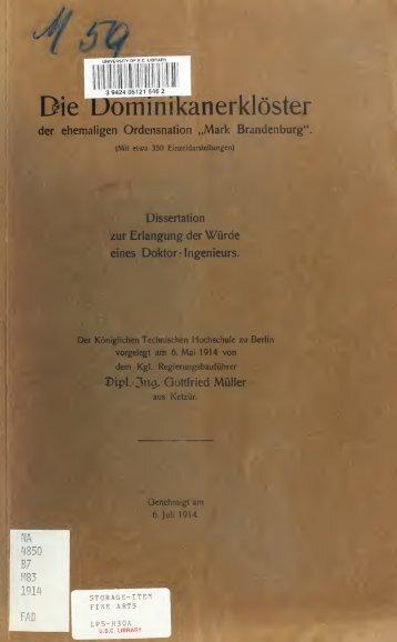 """Die Dominikanerklöster der ehemaligen Ordensnation """"Mark ..."""