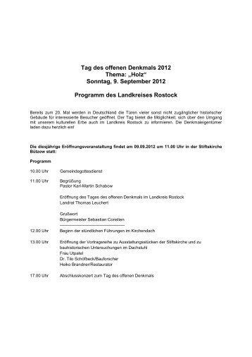 "Tag des offenen Denkmals 2012 Thema: ""Holz"" - Rostock ..."