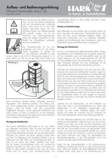 ethanol kaminofen asco 8 und 9 aufbau und hark. Black Bedroom Furniture Sets. Home Design Ideas