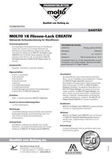 MOLTO 1K Fliesen-Lack CREATIV