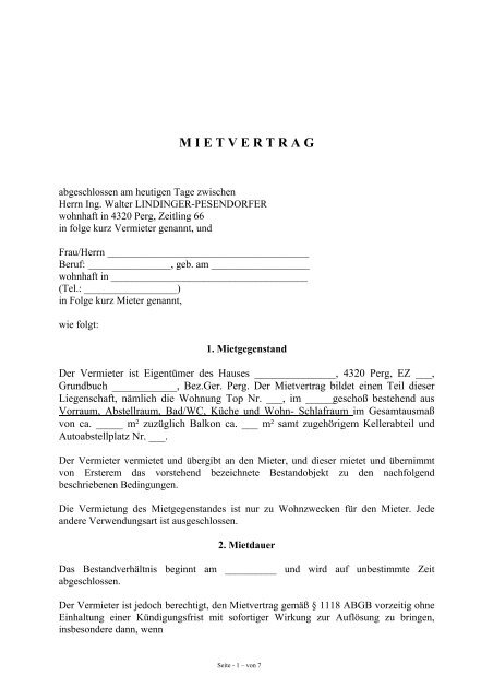 Mietvertrag Muster Wlp Immobilien Ing Walter Lindinger