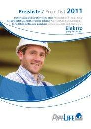 Preisliste / Price list 2011 Elektro - Pipelife Deutschland