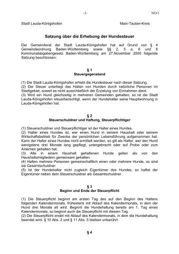 Satzung über die Hundesteuer - Stadt Lauda-Königshofen
