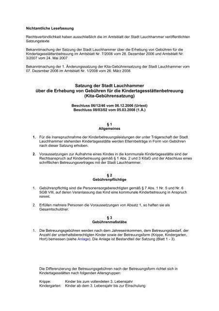 Kindertagesstätten - Gebührensatzung - Stadt Lauchhammer
