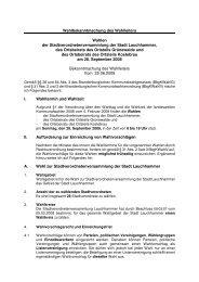 Wahlbekanntmachung des Wahlleiters Wahlen der ...
