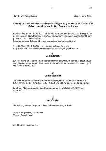 Satzung über ein besonderes Vorkaufsrecht der Stadt Lauda