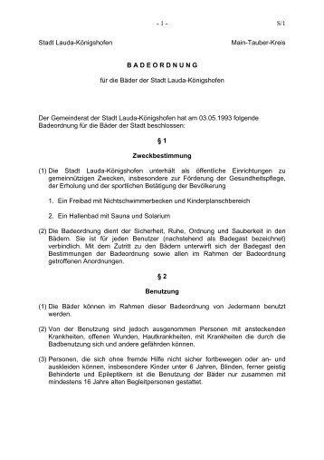 Badeordnung für die  Bäder der Stadt Lauda-Königshofen