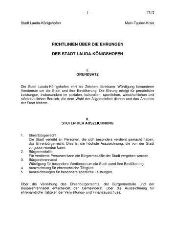 Richtlinien Ehrungen - Stadt Lauda-Königshofen