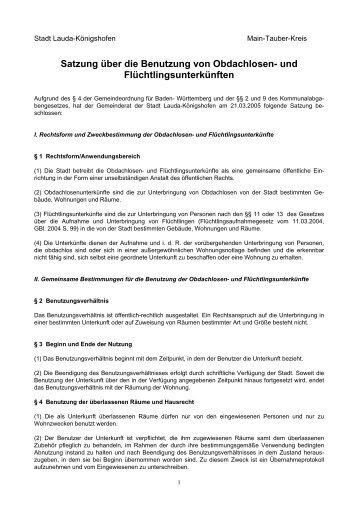 Satzung über die Benutzung der Obdachlosenunterkunft