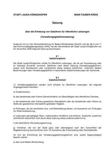 Satzung über die Erhebung von Gebühren für öffentliche