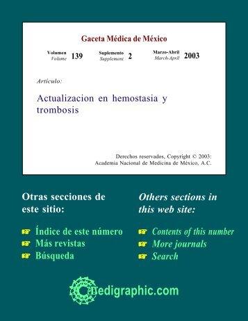 Actualización en hemostasia y trombosis - edigraphic.com