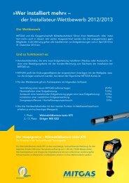 der Installateur-Wettbewerb 2012/2013 - Gasgemeinschaft ...