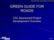 Green Guide for Roads Project - Transportation Association of Canada