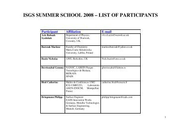 ISGS SUMMER SCHOOL 2008 – LIST OF PARTICIPANTS - LMNT